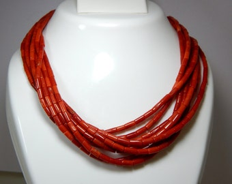 70%OFF Italian Coral Smooth Tube Beads 100 Percent Natural Gemstone - Size -3.5x3 to 7x6 mm Approx  - C03