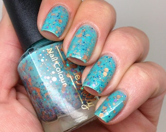 """Nail polish - """"Serenity"""" copper, turquoise and lavender glitter in a green base"""