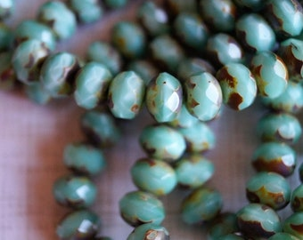 6x8mm Rondelle Beads - Satin Mint Green - Mint Picasso Finish - Fire Polished Premium Czech Glass Beads