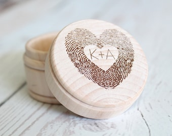 Fingerprint Ring Box | Thumbprint Heart Engraved Ring Box | Wedding Ring Box | Free Shipping