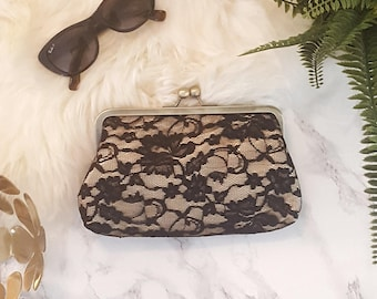Black Lace on gold fabric metal clasp clutch, bridesmaids gift clutch, wedding clutch, gift for her, personalised, night out, race day