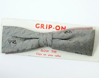 Silver Vintage Clip On Bow Tie 1950s Gray Woven Bowtie