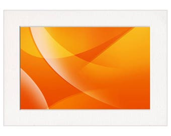Orange Abstract Swirls Wall Art Print in a Textured Card Picture Mount to fit into your own A4, 50x40cm or 20x16 inch frame