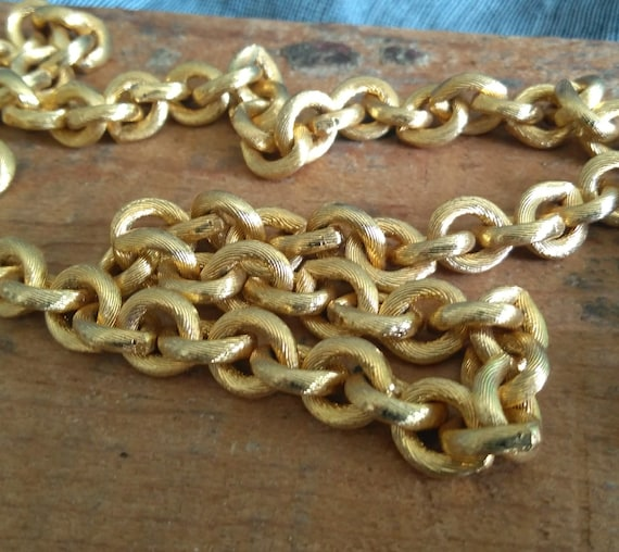 Vintage Kenneth Jay Lane for Saks Fifth Avenue heavy 1980s textured chain link necklace