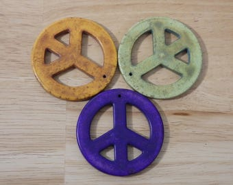 "BIG Magnesite Peace Symbol Signs Pendant, 2.25"". (purple orange green hippie groovy retro vintage stone charm 60's 70's woodstock)"