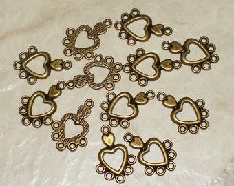Mini Heart Antiqued Bronze Connectors