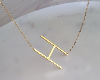 18k gold Sideways initial Necklace,Big letter necklace, Alphabet necklace,over sized initial necklace,Bridesmaid Gift, Mothers day gift