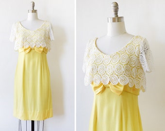 60s yellow dress, vintage 1960s linen and lace dress, lace capelet wiggle dress, extra small xs