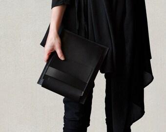 "NEW ipad 10.5"" iPad Pro leather case 9.7"" or 12.9"" iPad pro large case carry-all slim case black leather dark grey wool felt"