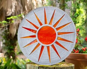 "Bright Orange Sun Stepping Stone 18"" Diameter #720"