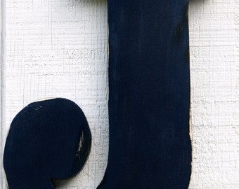 """Rustic Wooden Letter J Distressed Painted Navy Blue,12"""" tall 3/4"""" Thick Wood Name Letters, Custom Wedding Gift"""