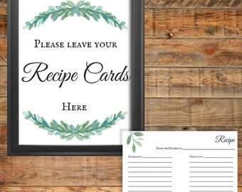 Greenery Recipe Cards Printable Wedding Game or Bridal Shower Game, Instant Digital Download