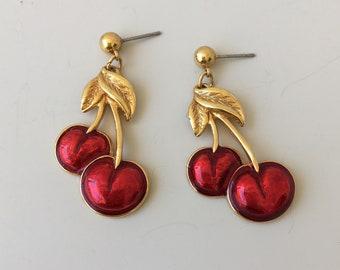 Vintage signed Avon cherry earrings