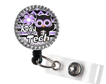 XRay Tech Owl ID Badge Reel, Medical Badge Reel