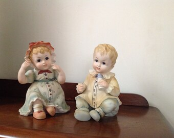 Pair Vintage Lefton China Piano Baby boy and baby girl