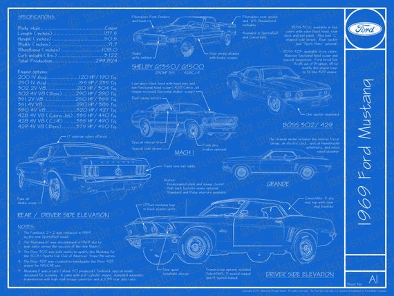 1969 ford mustang blueprint cartel 18 x 24 te gusta este artculo malvernweather Image collections