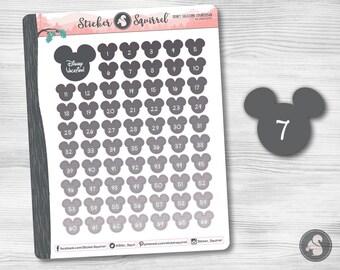 Disney Vacation Countdown Planner Stickers | erin condren mickey mouse monthly planner weekly planner vacation planner calendar SC.DSVA.0217