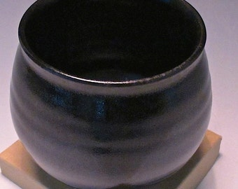 Medium Ramekin. White Stoneware. Black & Charcoal Gray. Serving Piece. Pottery. Ceramic. Bowl. Vase. Trinket Dish. Condiments. Sauces #1