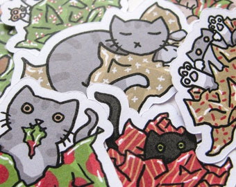 Christmas Stickers, Cute Cats, Journaling, Sticker Flakes, Stationery, Scrapbooking, Paper Stickers, Funny Holiday, Merry Kitties