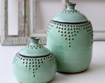 Large Lidded Jar - Canister 30 oz. - Rustic Aqua Mist - French Country Home Decor - MADE TO ORDER