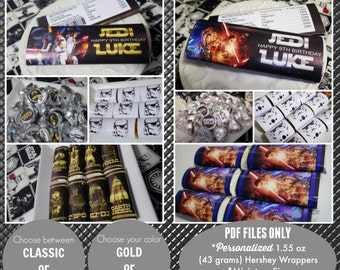 Star Wars Candy Bar Printable | Hershey Wrappers + Kiss Labels | Star Wars Birthday | Party Favors | Star Wars Party | Epic Parties by REVO