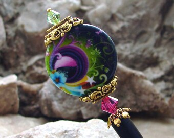 Hair Stick Bright Abstract Design Hairpin Rainbow Color Shell Coin with Pink and Green Swarovski Crystal Hair Pin Hair Pic - Irisa 2596