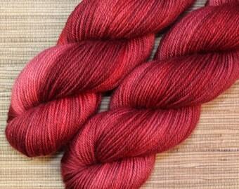 Hand dyed yarn - 115g Fine Superwash Merino -  DK weight (8 ply) in 'Valentino'