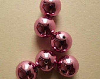 Vintage large metallic pink beads