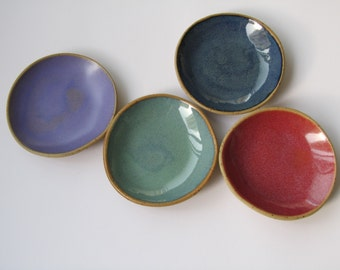 Ceramic ring Dish, Salt and Pepper plates,Pottery Jewelry Dish, small plates set, soap dish, colorful bathroom decor,Ceramic rings holder