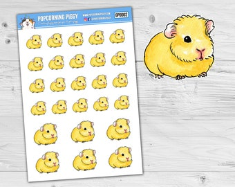 Stickers Blonde/White Guinea Pig - Watercolour Style - Planner Stickers (GP0002)