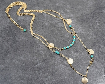 Mothers Day Gift Gold Disk Necklace Thin Turquoise Necklace Custom Length Chain Bar Necklace multi layer Chain Minimalist Gold Necklace