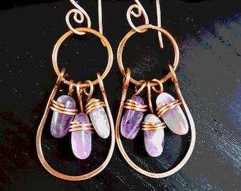 Handmade Copper earrings with ametyst stone