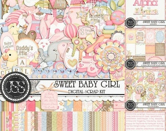 On Sale 50% Off Sweet Baby Girl Digital Scrapbook Kit Collection or Bundle for Digital Scrapbooking and Paper Crafting