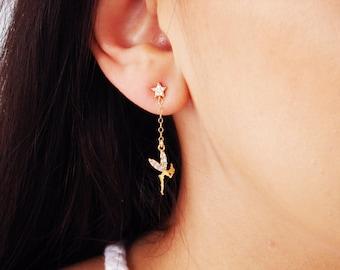 Tinkerbell Earrings ~ Fairy and Star Earrings ~ Mini Gold Tinkerbell ~ Angel Earrings ~ Gift for Her