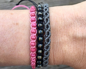 Adjustable Pink Bracelet Stack. Macrame Jewelry Set. Beaded Bracelets. Friendship Bracelets. Boutique Fashion. Summer Jewelry.
