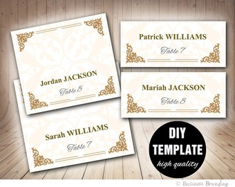 Gold Wedding Placecard Template Foldover,DIY Purple Place cards,Instant Download,Bronze Wedding PlaceCards,Gold Wedding,Antique Gold