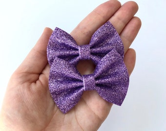 Lilac Glitter Felt Pigtail Hair Bow Set // Spring Easter Piggie Bows Hair Clips // Pigtail Bows Mini Bows Baby Toddler Bow