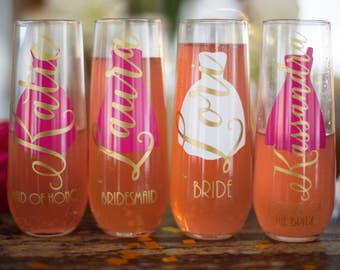 Personalized Bridesmaid Stemless Champagne Flutes, Maid of Honor, Bride, Bridesmaid Gift, Wedding Gift flutes, Wedding favor, Bridal Party