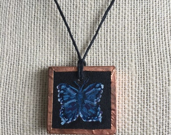 Blue butterfly necklace, Handpainted butterfly pendant, Unique butterfly jewelry, Artistic nature jewelry, Gift for her, Birthday gift