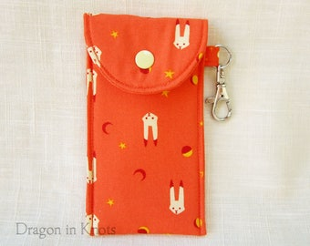 Lip Gloss Holder - Tall or Short Orange Pouch, Celestial Bunnies, Swivel Clip Keychain, Mini Essentials Case, Star and Moon, Kawaii Rabbit