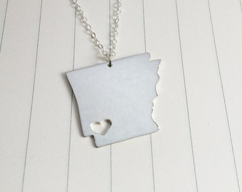 Arkansas State Charm Necklace,AR State Necklace,Silver State Necklace,State Shaped Necklace  With A Heart