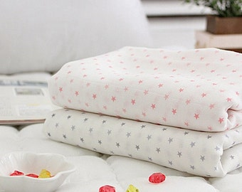 Bamboo Cotton Double Gauze Fabric by the yard  muslin fabric Korean Gauze Sewing Supplies -  pink & grey stars G969324