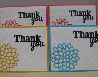 Handmade Thank You Cards with Matching Envelopes (Set of 4)
