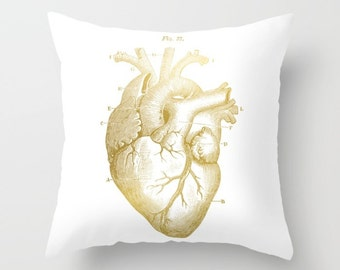 Gold Heart Pillow, Medical Anatomy Cushion Cover, Vintage Illustration Throw Pillow, Heart Accent Pillow, Human Heart Pillow