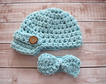 Blue Newborn Boy Hat and Bow Tie Set, Boy Baby Newsboy Hat, Baby Boy Cake Smash Set, Baby Coming Home Outfit, Newborn Photo Prop