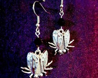 Beelzebub Earrings - baalzebub enlil baalzebul beelzebuth demon inverted pentagram lord of flies goth gothic