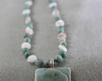Crystalline glaze porcelain pendant necklace