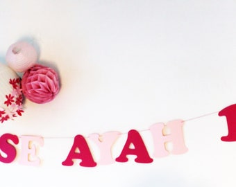 Princess Garland + name + age + 2 wreaths paper coated cotton cord