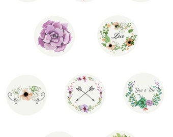 Printable Floral Theme Water Dessert Toppers