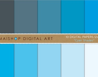Blue Digital Paper Pack Solid Color 'Cyan Shades' Plain Paper Background Instant Download for Scrapbook, Crafts, Decoupage...